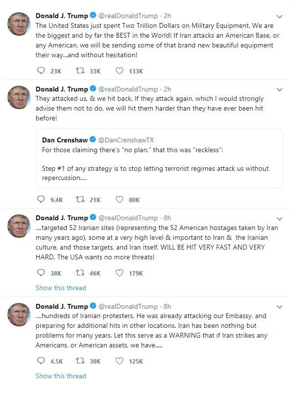 توییت های تهدید آمیز ترامپ